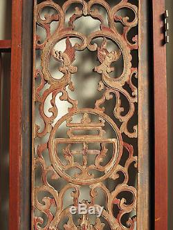 Antique Chinese Carved Wood Window Ornament Panel Architectural Fragment -32x28