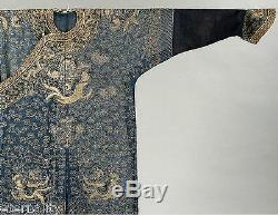 Antique Chinese China Imperial Robe Cloth Jacket Qing Silk Dragon Embroidery 19t