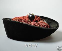 Antique Chinese China Officer Velvet Hat Mandarin Qing Finial Button Range