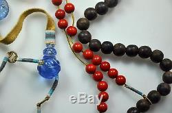 Antique Chinese China Qing Agarwood Chen Xiang Court Necklace Coral Peking 1900