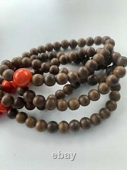 Antique Chinese China Qing Agarwood Chenxiang Mala Rosary Prayer Beads 1900