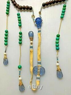 Antique Chinese China Qing Agarwood Qinan Kynam Court Necklace Peking Glass1900