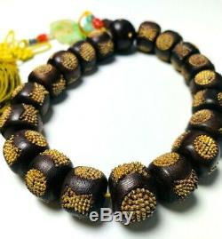 Antique Chinese China Qing Agarwood Rosary Mala Bracelet Prayer Beads 1900