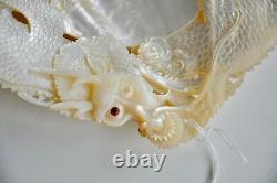 Antique Chinese China Qing Dragon Carved Engraved Mother Of Pearl Shell 19th C