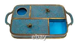 Antique Chinese Cloisonne Enamel Foo Dogs Opium Tobacco Caddy Box Vanity Tray