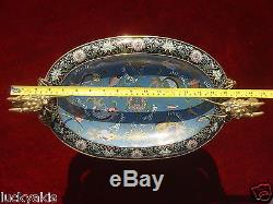 Antique Chinese Cloisonne Enamel Footed Bowl Bronze Dragon Handles Qing Dynasty