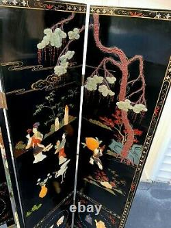 Antique Chinese Coromandel Chinese Black Lacquer 4 Panel Room Screen Divider