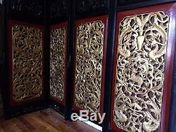 Antique Chinese Coromandel screen Room divider 10 panel carved Gold wood asain