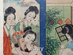 Antique Chinese Erotic Painting Qing Dynasty hand-painted on silk fabric