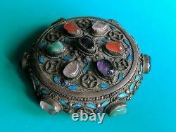 Antique Chinese Export Jade Multi Stone Silver Filigree Enamel Tea Caddy Box