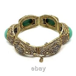 Antique Chinese Export Sterling Silver Filigree Turquoise Bracelet. 7