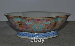 Antique Chinese Famille Rose Footed Lobed Bowl Bats Shou