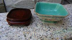 Antique Chinese Famille Rose Square Porcelain Bowl With Red Tongzhi Qing Mark