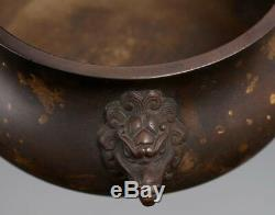 Antique Chinese FooDog Heads Incense Burner Bronze Censer Marked XuanDe AB012