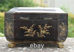 Antique Chinese Gilt Lacquered Tea Caddy with Pewter Containers