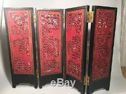 Antique Chinese Gold Gilt Wood Carving Lacquer Wood Four-folds Table Screen