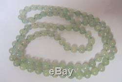 Antique Chinese Grade A Natural Translucent Clear Mottle Green Jade Necklace