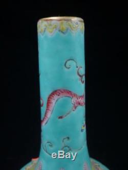 Antique Chinese Green Glaze Painting Porcelain Bottle Vase JiaQing Mark