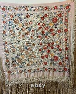 Antique Chinese Hand Embroidered Silk Piano Shawl 135 X 135 Fringe 55 Cm 2 Tone