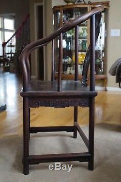 Antique Chinese Horseshoe Chair Hongmu Hardwood Bat Splat Furniture Qing 19th C