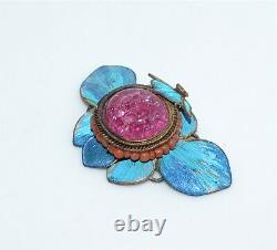 Antique Chinese Kingfisher Feather Tourmaline Glass Pendant Mark