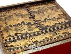 Antique Chinese Lacquer Writing Box Early 19th C