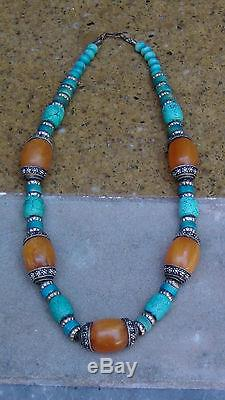 Antique Chinese Large Turquiose, Amber, Colored Bone Necklace Pendant