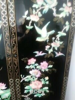 Antique Chinese Mother of Pearl 4 Panel Room Divider. Black Laquer 1940's 72