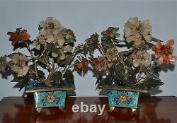 Antique Chinese Pair Jade Hardstone Carnelian Turquoise Plant Tree Cloisonne Pot