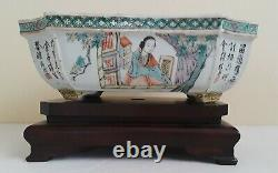 Antique Chinese Porcelain Famille-Rose Pot, Qing Dynasty