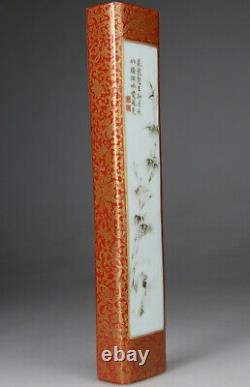 Antique Chinese Porcelain Famille Rose Weight Gilt Qianlong Mark Vase 19th