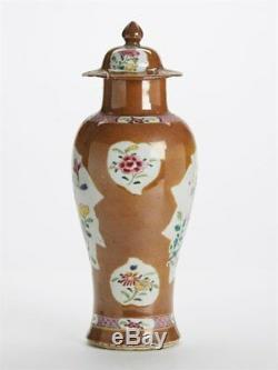 Antique Chinese Qing Batavian Famille Rose Lidded Vase 18c