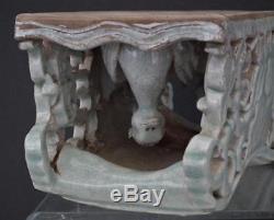 Antique Chinese Qing Dynasty Celadon Porcelain Pillow Shen De Tang Zhi Mark