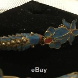 Antique Chinese Qing Dynasty Kingfisher Earrings