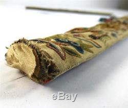 Antique Chinese Qing Dynasty Silk Fan Holder Case Embroidery