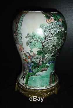 Antique Chinese Qing Kangxi reign Famille Verte Porcelain Vase Emperor Warriors