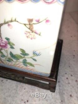 Antique Chinese Republic Famille Rose Porcelain Planters Golden Pheasants Birds