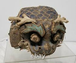 Antique Chinese Silk Embroidered Dragon Qylin Boys Hat Embroidery Qing