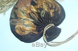 Antique Chinese Silk Embroidered Gold Threads Scent Pouch Purse Qing Dynasty