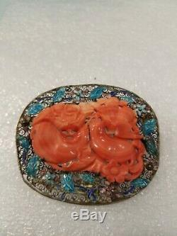 Antique Chinese Silver Filigree Brooch and Pendant Blue Enamel Coral