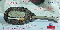 Antique Chinese Silver Hand Mirror with Nephrite Jade Tourmaline Jadeite Jade