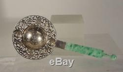 Antique Chinese Sterling Silver Chin Sung Tea Strainer Jadeite Jade Ear Pick