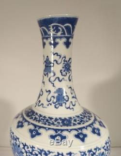 Antique Chinese Underglaze BLue and White Kangxi Mark Bottle Vase 19th Century