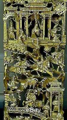 Antique Chinese Wood Carved Pierced Gilt Temple Panel Of Warriors On Horses