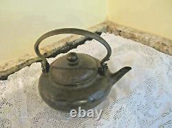 Antique Chinese Yixing Pottery Teapot Brass Handle/Knob Marked