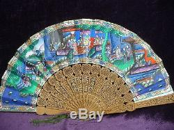 Antique Chinese carved sandalwood hand fan 11