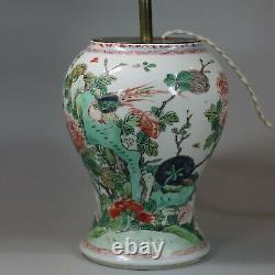 Antique Chinese famille verte lamp base, Kangxi (1662-1722)