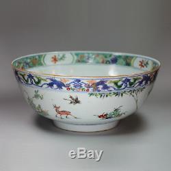 Antique Chinese famille verte punch bowl, Kangxi (1662-1722)