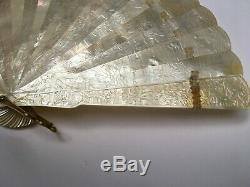 Antique Chinese for Export Brise Hand Carved MOTHER OF PEARL Hand Fan