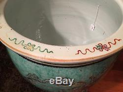 Antique Chinese large WuCai jardinière or fish bowl 21 1/4 Dia, late Qing